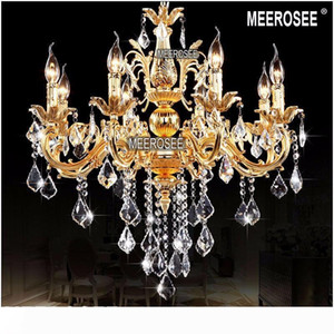 Moderna Luster Pendant Lighting 8 Crystal Light Arms Fixture Classic Chandelier Hanging Lamp Gold o Silver Cristal Lampada per Corridoio MD8861