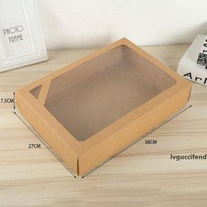 Large Kraft paper packaging box towel bath towel gift box kraft paper packaging box With Window 38*27*7.5cm LX2541