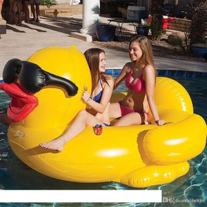 Pool Floats Raft 82.6*70.8*43.3inch Swimming Yellow Duck Floats Raft Thicken Giant PVC Inflatable Duck Pool Floats Tube Raft DH1136