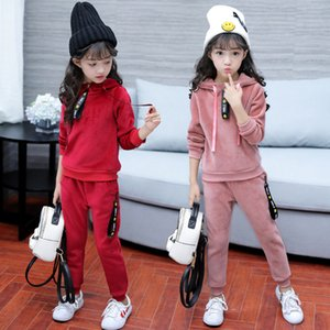 2020 New Girls Sports Suit Gold Velet Children Clothing Sets Baby Kids Sportswear Big Girls Hoodies Shirt & Pants Twinset Suits
