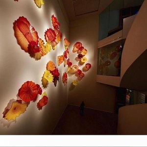 Otel Dekorasyon Çocuk Odası Fikirler Murano Plates için 2020 Cam Duvar Sanatı Dale El Üflemeli Asma Tabaklar Çiçek Turuncu Kırmızı
