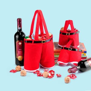 Large Small Size 2016 Merry Christmas Gift Treat Candy Wine Bottle Bag Santa Claus Suspender Pants Trousers Decor Gifts Bags ZA1265