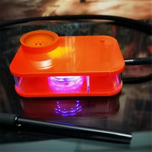 차 세트의 물 담배의 물 담뱃대 5 색 KTV 결혼식을 위해 RGB 아크릴 파티 바 Dabber 파이프 물 파이프를 조명했다