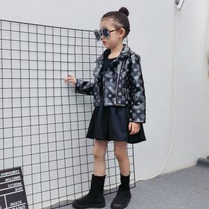 Moda Nova Crianças PU Jaqueta de Couro Outwear Meninos Meninas Preto Impresso Longo Manga Zipper Jacket Kids Designer Roupas A3511
