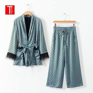 2019 Spring Jacket Bow Tie Sashes Pockets Tassel Decorate Outerwear Women Loose Kimono Coat Dot Print Wide Leg Pants 2 Pcs Sets T200713
