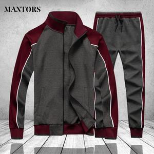 Patchwork Men Tracksuit Winter Spring 2 PCS Fleece Sweatshirt Jackets Pants Mens Track Suit Set Gym Joggers Sportswear Suit Male CX200730