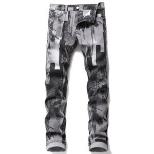 Nouveau Designer Casual Hommes Jeans Mode Gris Couleur Mi taille Slim Straight Jeans Pantalons longs adolescents