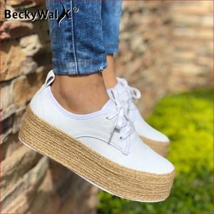 Autumn Platform Canvas Shoes Woman Espadrilles Black White Lace Up Casual Women Shoes Fashion Thick Soled Ladies WSH3410 Z4q2#