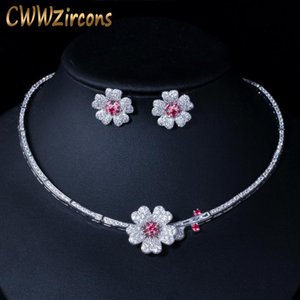 CWWZircons CZ Crystal Red Rose Flower Women Choker Necklace and Earrings Bridal Jewelry Set for Wedding Dress Accessories T211 T200302