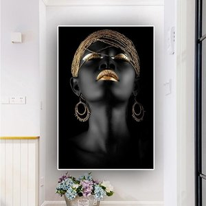 Gold Black African Woman Body Art Oil Painting on Canvas Fashion Figure Posters Prints Scandinavian Wall Pictures for Living Room Decoration