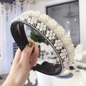 Simple Style Women Party Headbands INS Fashion Pearl Floral Hair Band Vintage Non Slip Girls Hairband