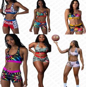 Marken-Frauen-Designer-Badeanzug Shark 2 Stück Bikini Set Push Up Vest Tank Top Bra + Shorts Schwimmen Bademode Trunk Hosen Badeanzug D72705