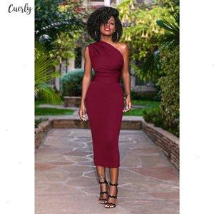 One Women Shoulder Dress Womens Ol Dress Elegant Bodycon Bandage Party Knee Length Dresses Plus Size Vestido Designer Clothes