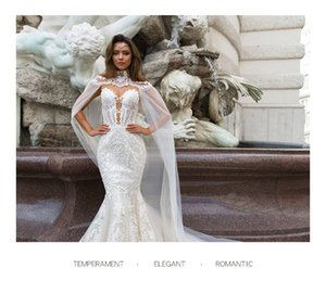 2020 new dream round neck slim fishtail lace wedding dress white bridal dress two wear movable shawl