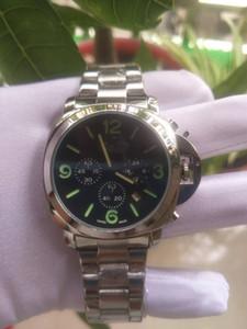 2020 Limited Edition 1950 PV Black Carbon Fiber Case 00700 LAB черный циферблат кварцевые мужские часы кожаный ремешок Orologio дизайнер
