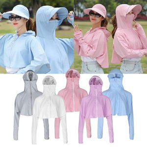 5x Womens Anti-UV Coat Solid Long Sleeve Hooded Jacket Breathable Quick Dry