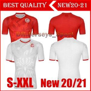 20 21 تونس البيت الابيض لكرة القدم جيرسي 2020 2021 بعيدا قمصان كرة القدم الحمراء أعلى جودة تايلند Camiseta دي فوتبول