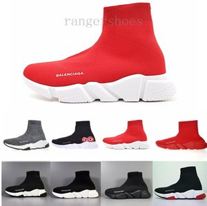 New Arrivlas s Fashion Luxurys For Women Men Speed Trainer off Red Triple Black Flat Casual shoes Sock Boots Mens Shoes KK9-G