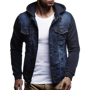 Shujin Moda Uomo Giacca di jeans di autunno della molla con cappuccio jeans patchwork Windbreaker Cappotti Mens casuale dimensione Cappotti più 3XL1
