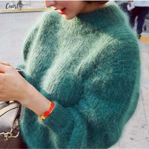 New Fashion Winter Thickened Warm Turtleneck Mohair Female Sweater Lantern Sleeve Casual Solid Color Slim Simple Pullover