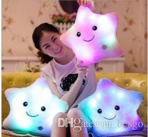 Işıltılı Şirin Yastık Işık yastık sevimli peluş oyuncak bebek parlak yıldız peluş Yastık Sıcak Renkli Yıldız çocuklar Oyuncaklar Doğum Hediye BH0198