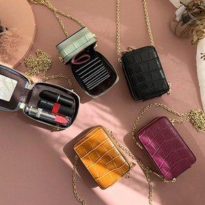 RAZALY Genuine Leather WOC borse e borse del sacchetto piccolo lembo Mini Card con le donne Borse Specchio frizione catena DqNW #