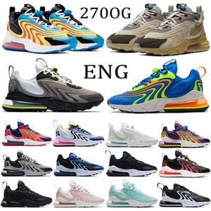 New 27C Reagir ENG Running Shoes Homens Mulheres Coxim Sneakers Travis scotts cactos trilhas preto Sapphire melancia neon berinjela Formadores