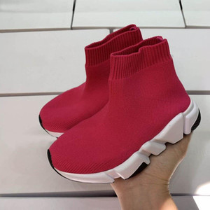 TOP QUALITY Kids Boots Speed Stretch Mesh Designer Running Shoes Speed Knit Sock Mid-Top Sneakers Speed Trainer children baby sneaker