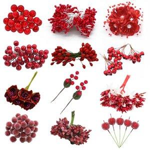 1set Mixed Red Flower Kirsche Stamen Beeren Bundle DIY Weihnachtshochzeitstorte-Geschenkbox Kränze Neujahr Weihnachtsdekoration