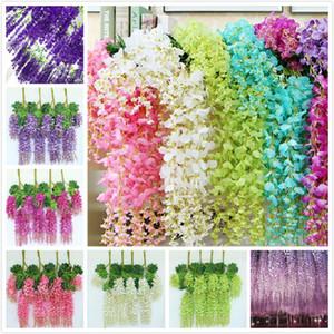 Viña del banquete de boda 110 cm flores artificiales Wisteria falso jardín colgante flor de Plantas de eventos Decoración DWF514