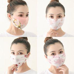 Chiffon Druck Blumen Designer Face Frauen Maske Sommer Outdoor-Sport Winddichtes staubdichte Baumwolle wiederverwendbare Gesichtsmasken DDA135