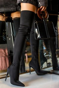 2020 Зима За Колено Женщины Boots Stretch Высокий каблук скольжения на обувь острым носом Женщина Длинные сапоги Размер 35-43