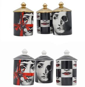 Vestir turística maquillaje pluma de almacenamiento de bricolaje creativa Jar Candle Holder Milán Estilo Escritorio Decoración jewerlly Disposición caja de cerámica