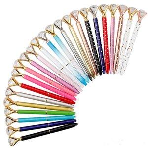 Creative Crystal Glass Kawaii Ballpoint Pen Big Gem Ball Pen With Large Diamond 11 Colors Fashion School Office Supplies 362