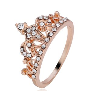 New Fashion Womens Gold Rose Gold Silver Plated Alloy Crown Ring Crystal Rhinestone Gift Ring for Sale ps0787
