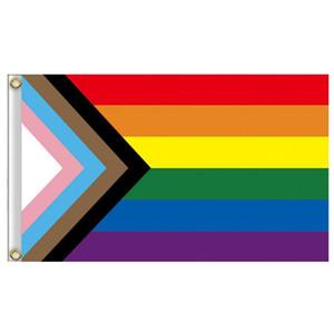 Радуга Флаг 90x150cm Gay и Гей-Полиэфир Баннер Флаги полиэфирные Красочные Радуга флаг для украшения SN1246
