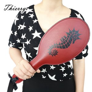 Thierry double layer PU leather Seahorse pattern paddle Spanking Hand Pat SM toys whip flogger Slave bondage Adult Sex Toys CX200718