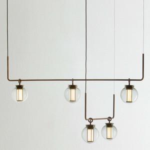 Verre Bronze moderne pendentif boule Light Chandelier Suspension LED Accueil Salon Salle à manger Chambre Chambre A côté de la lampe au plafond PA0577