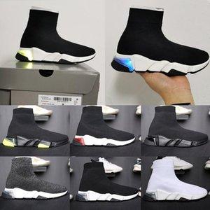 balanciaga balenciaga concepteur du sport vitesse chaussettes femmes semelle transparente entraîneur tricot plateforme slip-on chaussures de sport à lacets des  coureurs formateur