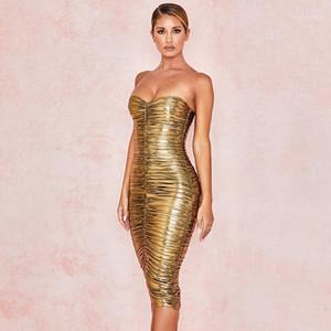 Strapless plissadas Mulheres Designer Vestido Casual Moda Noble Ladies Clothing Corte Neck Ouro Womens vestidos de verão