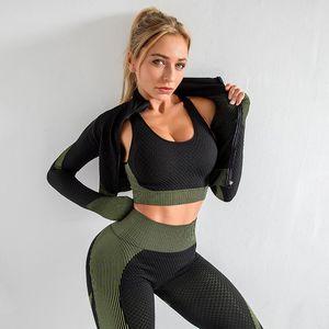 Autumn Marca Designer Womens Yoga Suit três Clothes set peça de estilo manga comprida leggings Sportwear Zipper inverno de Fitness Sports para a mulher