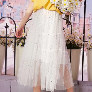 Black Solid Contrast Sequins Casual Women Mesh Skirts 2020 Summer White Elegant Korean Ladies Bright Midi Skirt