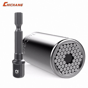 Universal-Steckschlüssel-Werkzeuge, Paissite 7mm bis 19mm Universal-Socket Set mit Adapter für Power Drill, Profi-Reparatur-Werkzeuge GVL8 #