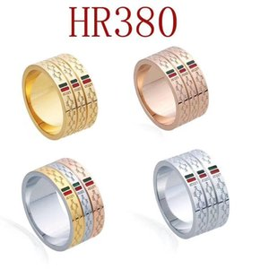 Titanium Steel Wedding Designer lovers Ring for women Zirconia Engagement Rings men jewelry Gifts HR380-R Fashion Accessories