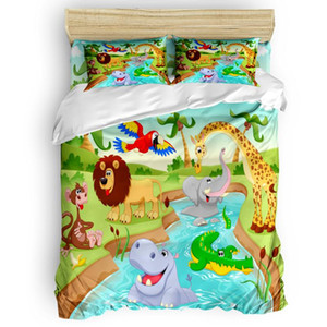Comforter Bedding Sets Cartoon Jungle Zoo Giraffe Bedding Set Home Duvet Cover Luxury Set 4 Pcs