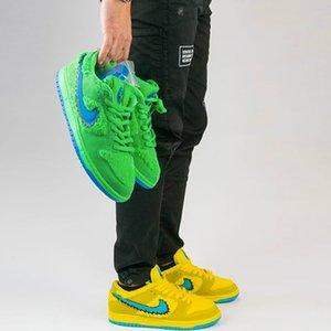 NIKE Sb Dunk Low х Grateful Dead Bears Желтый Зеленый черный Средний Браун Скейт обувь мальчик девочка Симпатичные кроссовки мужские Мода Дизайн Повседневная обувь