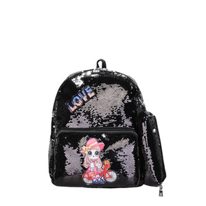 Embroidered sequins cartoon fashion ladies backpack