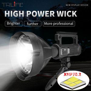 TRLIFE súper largo alcance más brillante XHP70.2 / XHP50 LED antorcha 7200mAh reflector portátil con soporte USB Spotlight