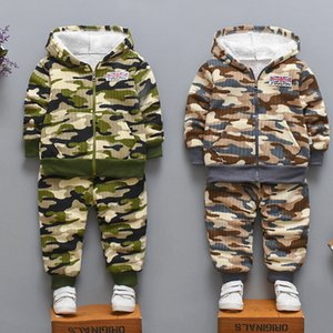 New Children Warm Fleece Baby Boys Clothing Sets Autumn Winter Toddler Long Sleeve 2pcs Clothes Suits Camouflage Kids Tracksuits