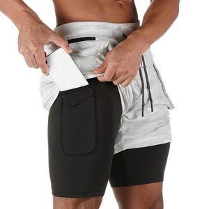 2020 Mens 2 Şort Koşu Gym Fitness Eğitimi Hızlı Kuru Plaj Kısa Pantolon Erkek Yaz Spor Egzersiz Bottoms Giyim Running 1'de